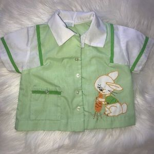 Vintage Easter button down baby top 3-6 months